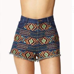 BOHO tribal Aztec high waisted denim shorts sizeM